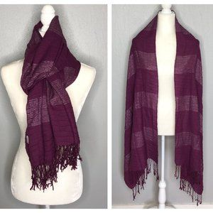 Purple & Silver Striped Woven Scarf Wrap Cover-Up